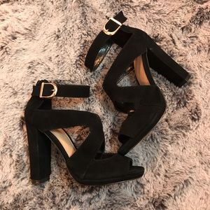 June Ambrose Black Suede Freda Sandals